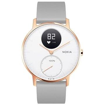 Chytré hodinky Nokia Steel HR (36mm) Rose Gold/Grey Silicone wristband (36white-RG-S-Grey)