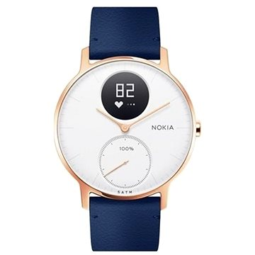 Chytré hodinky Nokia Steel HR (36mm) Rose Gold/Blue Leather/Grey Silicone wristband (36white-RG-L-Blue)