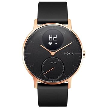 Chytré hodinky Nokia Steel HR (36mm) Rose Gold/Black Silicone wristband (36black-RG-S-Black)