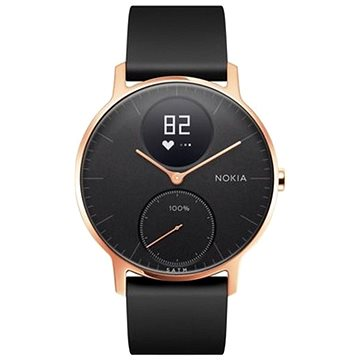 Chytré hodinky Nokia Steel HR (36mm) Rose Gold/Black Leather/Black Silicone wristband (36black-RG-L-Black)