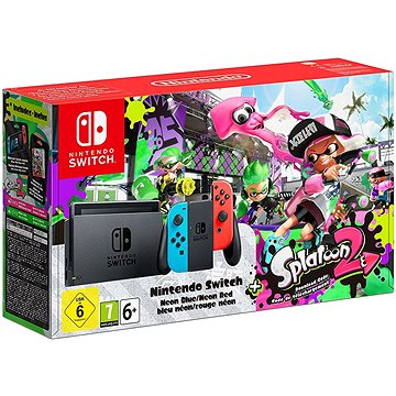 Nintendo Switch - Neon + Splatoon 2 (045496452346)
