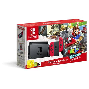 Nintendo Switch - Red + Super Mario Odyssey (045496452391)