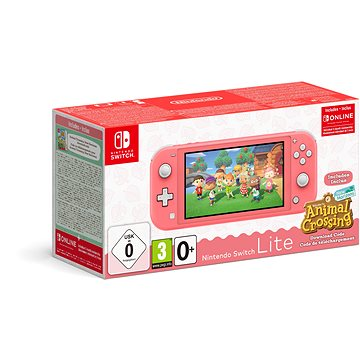Nintendo Switch Lite - Coral + Animal Crossing + 3M NSO (045496453282)