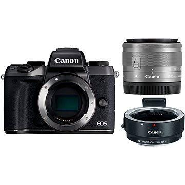 Canon EOS M5 + 15-45mm STM stříbrný + adaptér EF-EOS M (1279C044AA) + ZDARMA Poukaz Elektronický dárkový poukaz Alza.cz v hodnotě 1000 Kč, platnost do 28/2/2017
