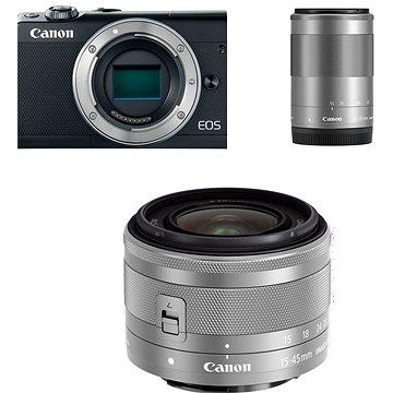 Canon EOS M100 černý + M15-45mm stříbrný + M55-200mm stříbrný (2209C022)