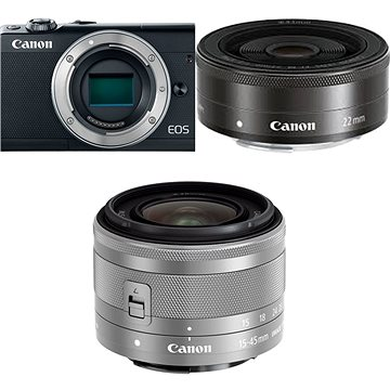 Canon EOS M100 černý + M15-45mm stříbrný + M 22mm (2209C032)