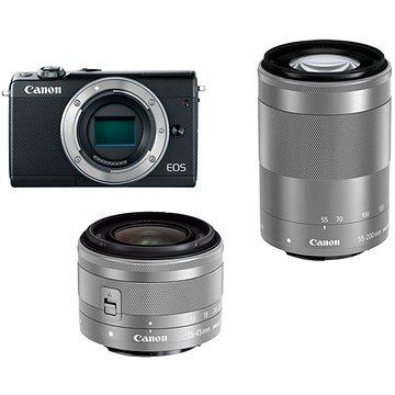 Canon EOS M100 šedý + M15-45mm stříbrný + M55-200mm stříbrný (2211C022AA)