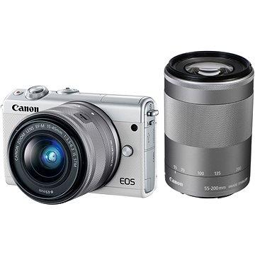 Canon EOS M100 bílý + M15-45mm stříbrný + M55-200mm stříbrný (2210C022) + ZDARMA Paměťová karta SanDisk SDHC 32GB Ultra Class 10 UHS-I