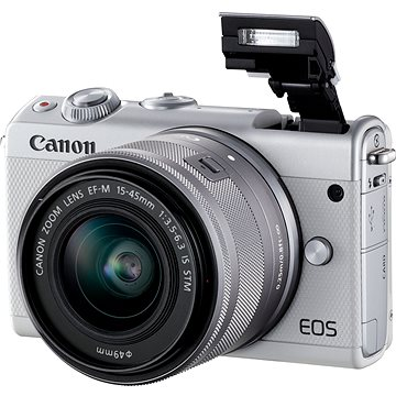Canon EOS M100 bílý + M15-45mm stříbrný (2210C012)
