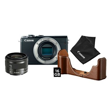 Canon EOS M100 černý + EF-M 15-45 mm IS STM stříbrný Value Up Kit (2209C098AA)