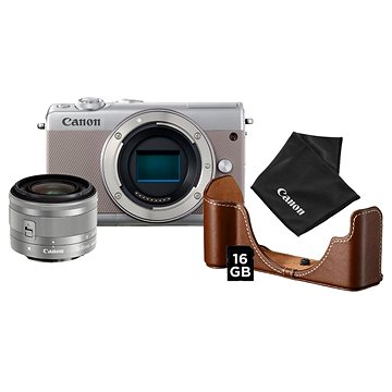 Canon EOS M100 šedý + EF-M 15-45 mm IS STM stříbrný Value Up Kit (2211C069AA)