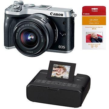 Canon EOS M6 stříbrný+ EF-M 15-45mm + Canon SELPHY CP1200 černá + papíry RP-54