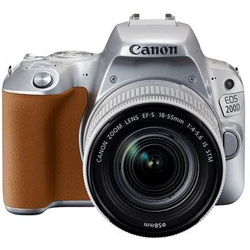 Canon EOS 200D stříbrný + 18-55mm IS STM (2256C001AA) + ZDARMA Kalkulačka Canon LS-100K zelená