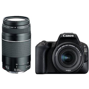 Canon EOS 200D černý + 18-55mm DC III + 75-300mm DC III (2250C025)