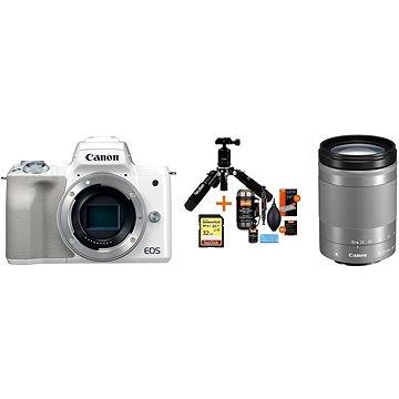 Canon EOS M50 bílý+ EF-M 18-150 mm IS STM + Rollei Premium Starter Kit