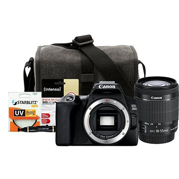 Canon EOS 250D čierny + 18–55 mm IS STM + Canon Starter Kit 58 mm – 32GB