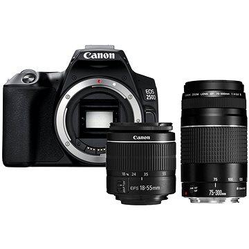 Canon EOS 250D čierny + 18–55 mm DC III + 75–300 mm DC III(3454C016)