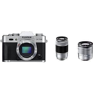 Fujifilm X-T10 Silver + objektivy XC16-50mm + XC50-230mm (16471079) + ZDARMA Batoh na fotoaparát Lowepro Photo Hatchback 250 AW II černý Ministativ MANFROTTO MTPIXI-B PIXI černý