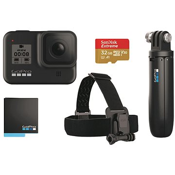 GOPRO HERO8 BLACK + čelenka + shorty + baterie + SD karta (CHDRB-801)