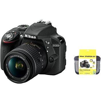 Nikon D3300 + Objektiv 18-55 AF-P + Nikon Starter Kit + dalekohled Nikon Aculon T01 + ZDARMA Dalekohled Nikon Aculon T01 8x21 modrý