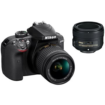 Nikon D3400 černý + 18-55 mm AF-P VR + 50 mm AF-S + ZDARMA Fotobrašna Nikon CF-EU11 Ministativ JOBY GorillaPod 3K Kit černý/šedý/červený
