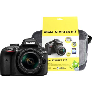 Nikon D3400 černý + 18-55mm AF-P VR + Nikon Starter Kit + ZDARMA Grafická aplikace ZONER Photo Studio X (DE) Grafická aplikace ZONER Photo Studio X (EN)