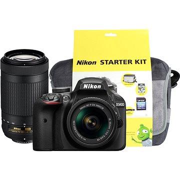 Nikon D3400 černý + 18-55mm VR + 70-300 VR + Nikon Starter Kit + ZDARMA Párty hra Krycí jména