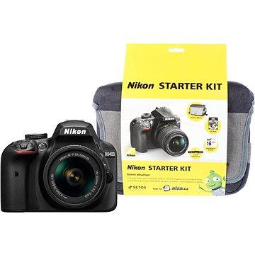 Nikon D3400 černý + 18-55mm AF-P + Nikon Starter Kit + ZDARMA Grafická aplikace ZONER Photo Studio X (DE) Grafická aplikace ZONER Photo Studio X (EN)