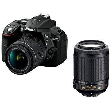 Nikon D5300 černý + 18-55mm AF-P VR + 55-200mm AF-S VR II (VBA370K019) + ZDARMA Párty hra Krycí jména