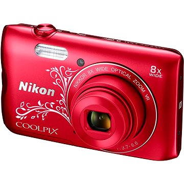 Nikon COOLPIX A300 červený lineart (VNA964E1) + ZDARMA Hlavolam Fidget Spinner zelený + časopis