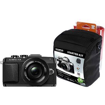 Olympus PEN E-PL7 černý + objektiv 14-42mm Pancake Zoom + Olympus Starter Kit zdarma