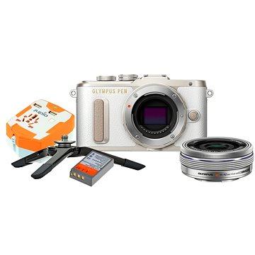 Olympus PEN E-PL8 bílý + Pancake objektiv ED 14-42EZ stříbrný + Travel kit