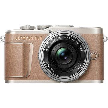 Olympus PEN E-PL10 hnědý + Pancake Zoom Kit 14-42 mm stříbrný (V205101NE000)