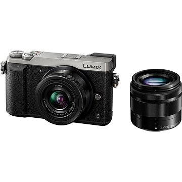 Panasonic LUMIX DMC-GX80 stříbrný + objektiv 12-32mm + objektiv 35-100mm (DMC-GX80WEGS) + ZDARMA Brašna na fotoaparát Lowepro Format 110 černý