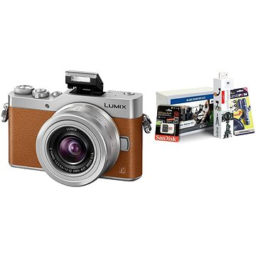 Panasonic LUMIX DMC-GX800 hnědý + objektiv 12-32mm + Alza Foto Video Starter Kit 2019