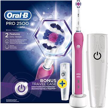 Elektrický zubní kartáček Oral-B Pro 2500 3D White Pink + Travel Case (4210201162599) + ZDARMA Náhradní nástavec pro zubní kartáčky Oral-B EB 50-2 Cross Action