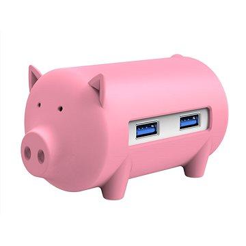 ORICO Piggy 3x USB 3.0 hub + SD card reader pink (H4018-U3-PK)