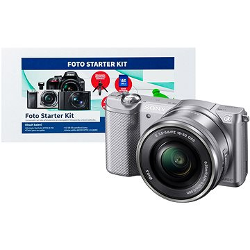 Sony Alpha A5000 stříbrný + objektiv 16-50mm + Alza Foto Starter Kit