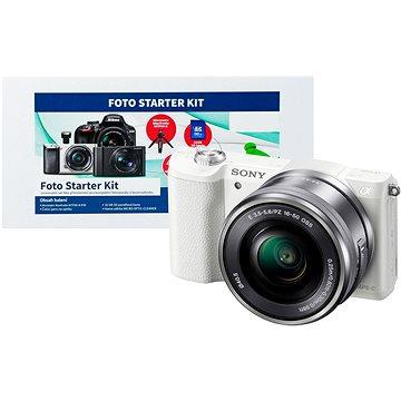 Sony Alpha A5000 bílý + objektiv 16-50mm + Alza Foto Starter Kit
