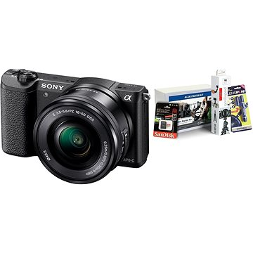 Sony Alpha A5100 černý + objektiv 16-50mm + Alza Foto Video Starter Kit 2019