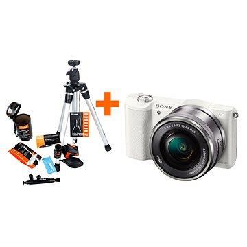 Sony Alpha A5100 bílý + objektiv 16-50mm + Rollei Starter Kit