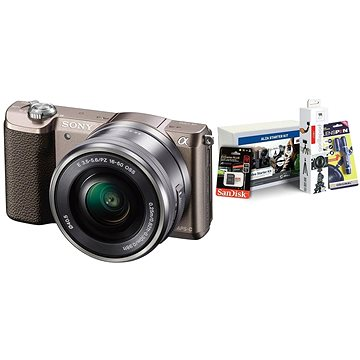 Sony Alpha A5100 hnědý + objektiv 16-50mm + Alza Foto Video Starter Kit 2019