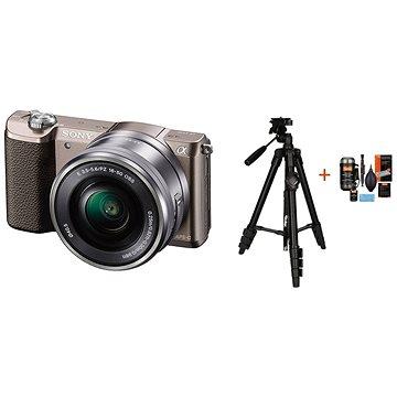 Sony Alpha A5100 hnědý + objektiv 16-50mm + Rollei Foto Starter Kit 2