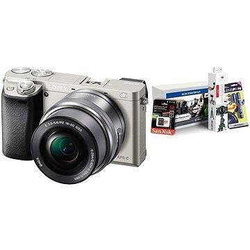 Sony Alpha 6000 stříbrný + objektiv 16-50mm + Alza Foto Starter Kit
