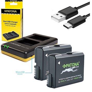 PATONA Foto Dual Quick Nikon EN-EL14 + 2x baterie 1100mAh (PT1966B)