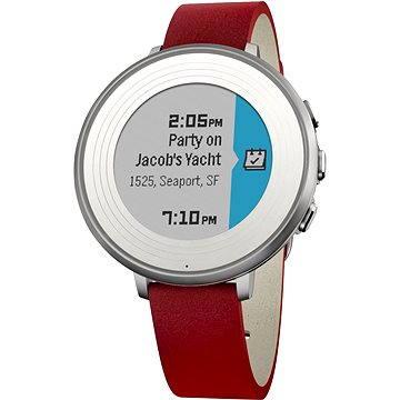 Chytré hodinky Pebble Time Round stříbrno-červené (PEBBLETIMERO14SLRD)