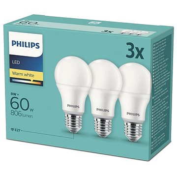 Philips LED 9-60W, E27 2700K, 3ks (929001913194)