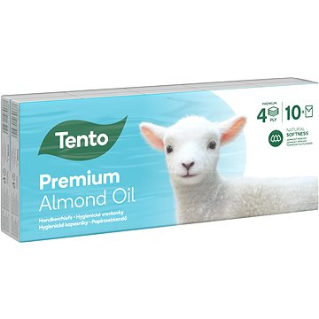 Papírové kapesníky TENTO Natural Oils Almond 10 × 10 ks (6414301030675)