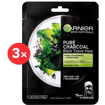 GARNIER Skin Naturals Pure Charcoal Black Tissue Mask s extraktem z mořských řas 3× 28 g