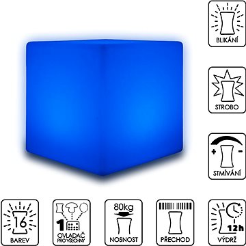 Colour changing LED cube stool 30cm (SLUFC30)